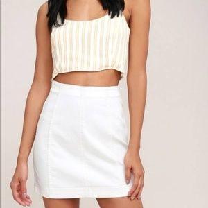 Free People Stark Modern Femme White Denim Skirt